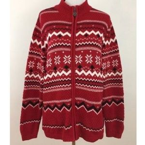 Breckenridge Red Zip Front Snowflake Sweater